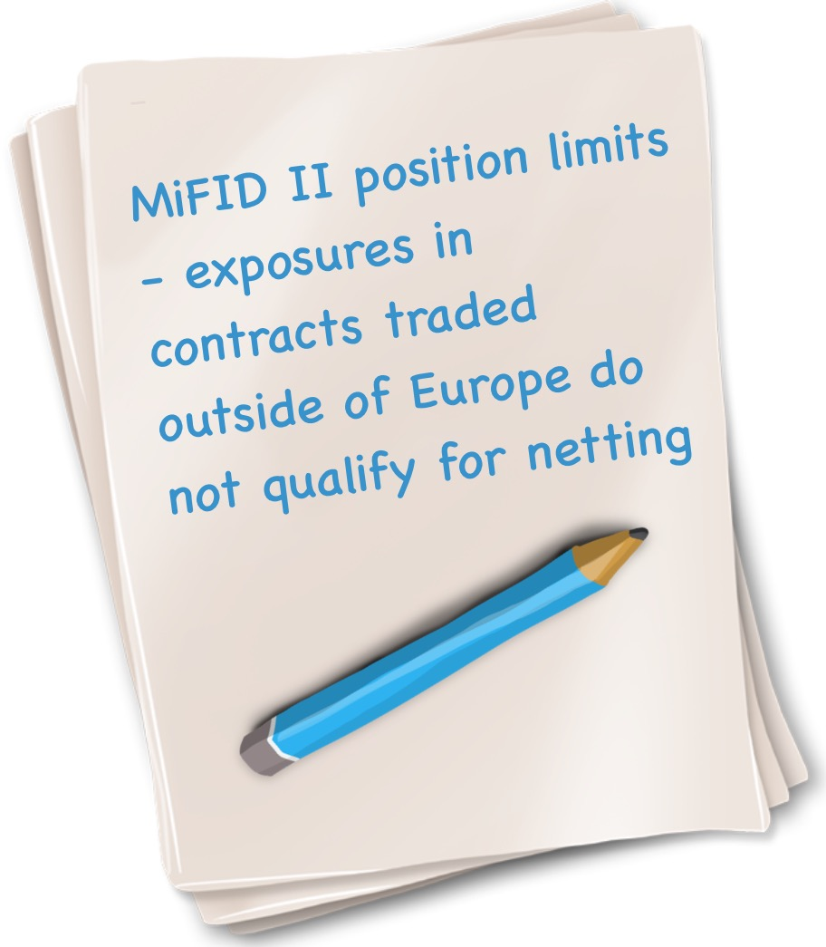MiFID II position limits exposures in contracts traded outside of Europe do not qualify for netting